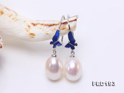 Classical 9.5x11.5mm White Oval Freshwater Pearl Earrings in Silver FED193 Image 5