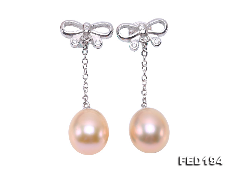 Classical 9.5x11.5mm Pink Oval Freshwater Pearl Earrings in Sterling Silver big Image 1