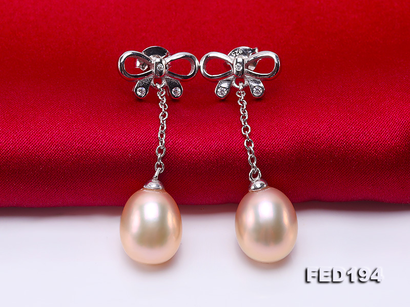 Classical 9.5x11.5mm Pink Oval Freshwater Pearl Earrings in Sterling Silver big Image 3