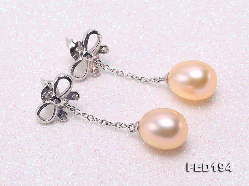 Classical 9.5x11.5mm Pink Oval Freshwater Pearl Earrings in Sterling Silver big Image 4