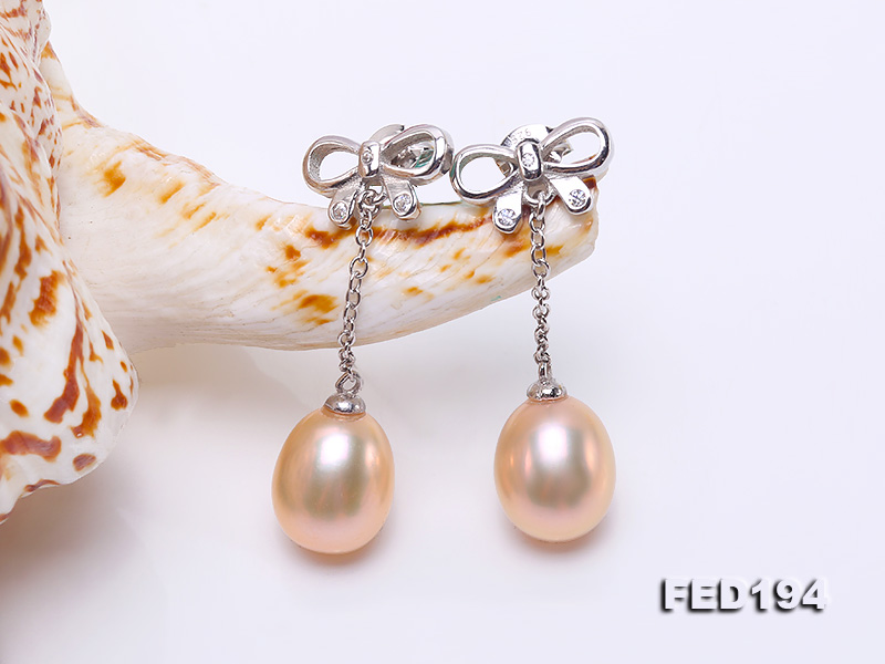 Classical 9.5x11.5mm Pink Oval Freshwater Pearl Earrings in Sterling Silver big Image 5
