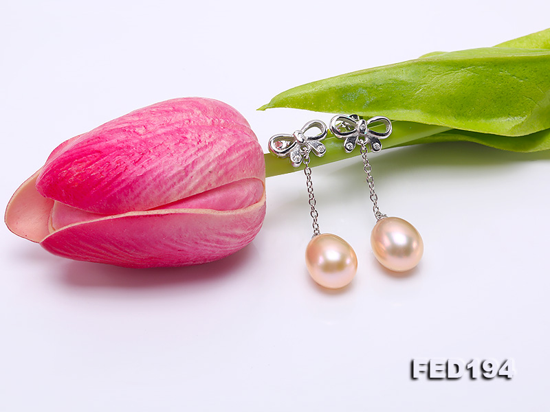 Classical 9.5x11.5mm Pink Oval Freshwater Pearl Earrings in Sterling Silver big Image 6