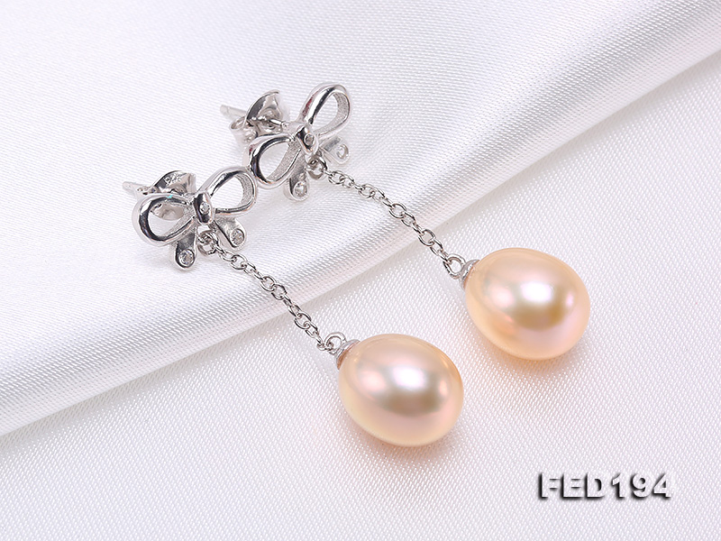 Classical 9.5x11.5mm Pink Oval Freshwater Pearl Earrings in Sterling Silver big Image 7