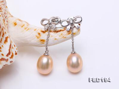 Classical 9.5x11.5mm Pink Oval Freshwater Pearl Earrings in Sterling Silver FED194 Image 5