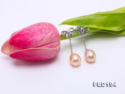 Classical 9.5x11.5mm Pink Oval Freshwater Pearl Earrings in Sterling Silver FED194 Image 6