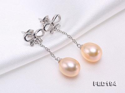 Classical 9.5x11.5mm Pink Oval Freshwater Pearl Earrings in Sterling Silver FED194 Image 7