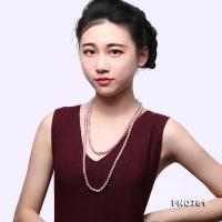 High Quality 6-7mm Lavender Pearl Long Necklace FNO781
