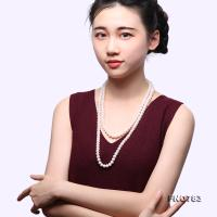 High Quality 9-10mm White Pearl Long Necklace FNO783