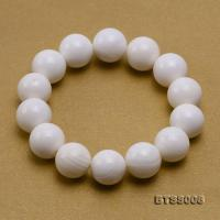 14mm Round White Tridacna Beads Elasticated Bracelet BTSS008