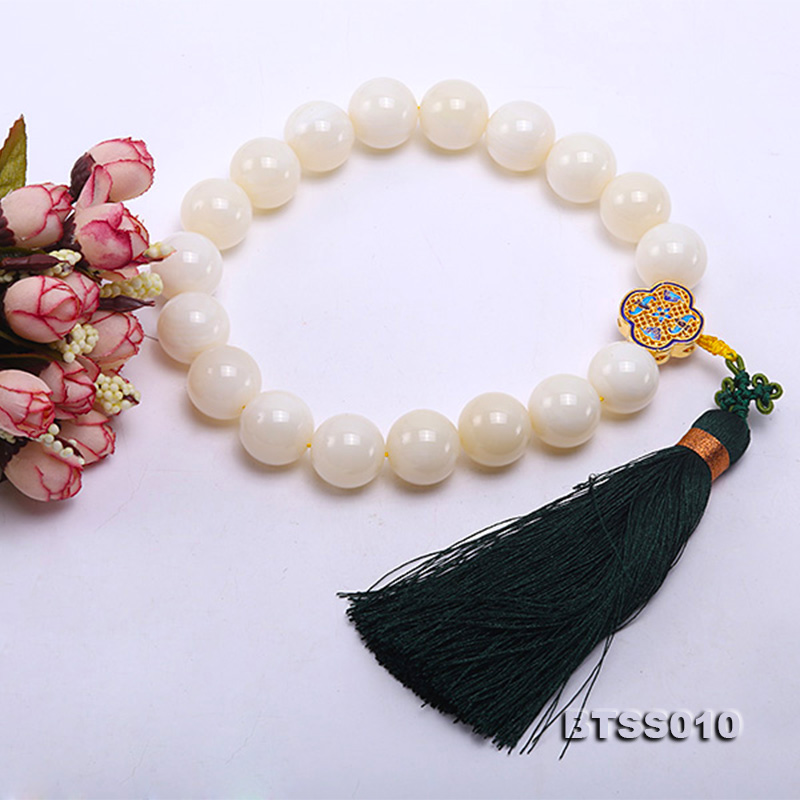 Huge 22mm Round Jadified Tridacna Beads Elastic Prayer Beads/Bracelet big Image 3