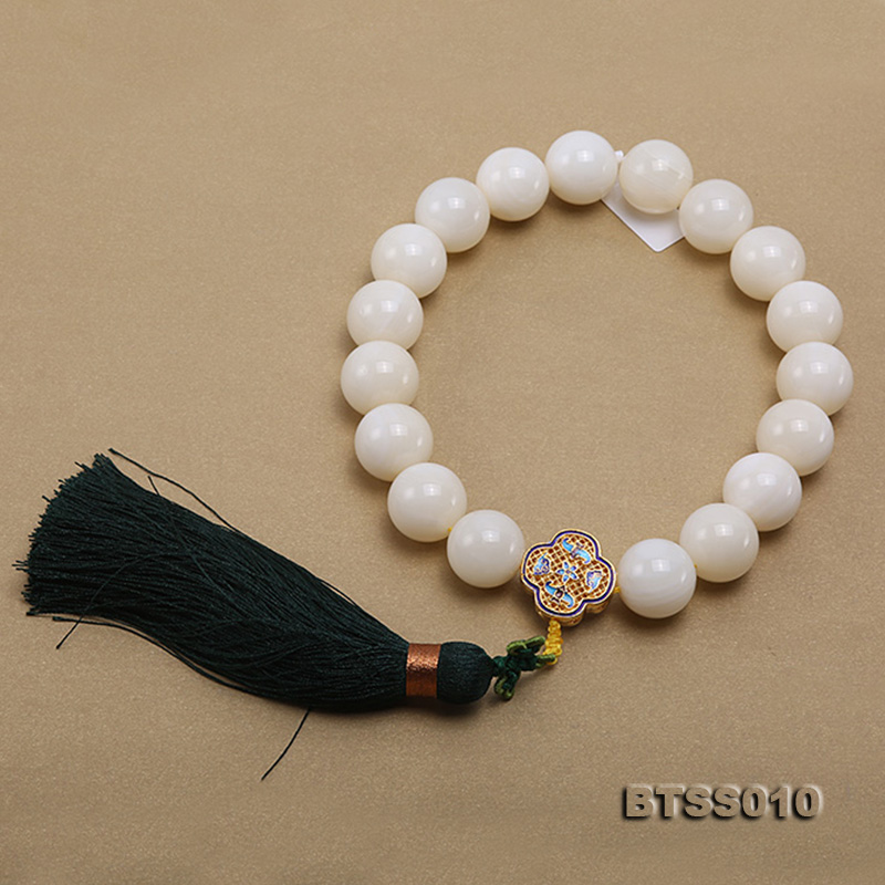 Huge 22mm Round Jadified Tridacna Beads Elastic Prayer Beads/Bracelet big Image 4