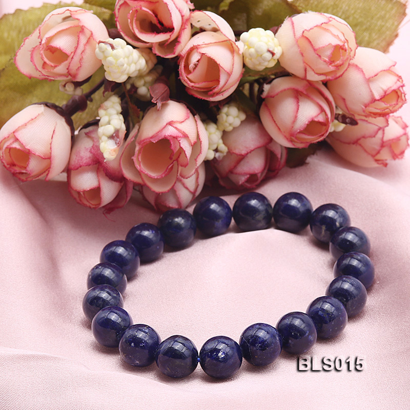 10mm Round Lapis Lazuli Elasticated Bracelet big Image 2