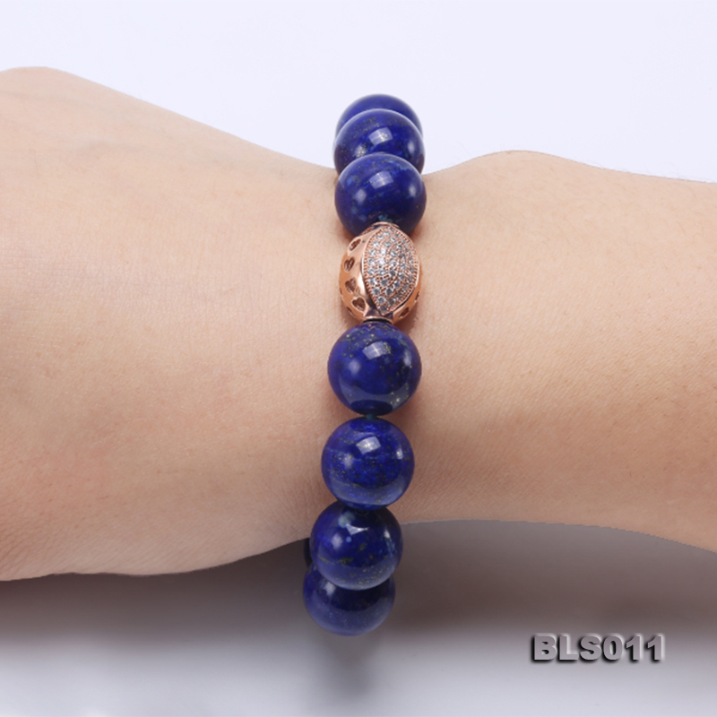 12mm Round Blue Lapis Lazuli Elasticated Bracelet big Image 9