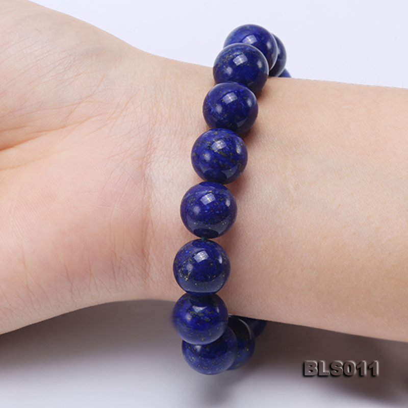 12mm Round Blue Lapis Lazuli Elasticated Bracelet big Image 10