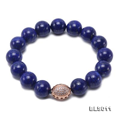 12mm Round Blue Lapis Lazuli Elasticated Bracelet BLS011 Image 1