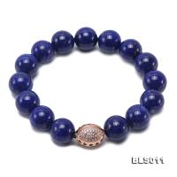 12mm Round Blue Lapis Lazuli Elasticated Bracelet BLS011