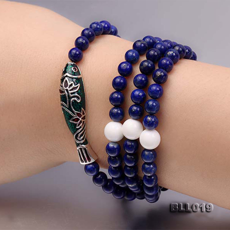 6mm Round Blue Lapis Lazuli Prayer Beads Elasticated Necklace/Bracelet big Image 7