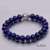 7.5x10mm Blue Oblate Lapis Lazuli Elasticated Bracelet BLS020