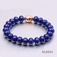 7.5x10mm Blue Oblate Lapis Lazuli Elasticated Bracelet BLS021