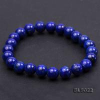 8mm Round Blue Lapis Lazuli Elasticated Bracelet BLS022