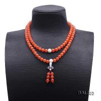 High Quality 8-8.5mm Natural Nanhong Agate Prayer Beads/Necklace BAL003