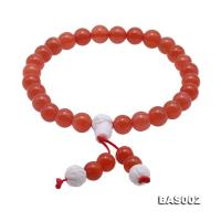 High Quality 7.5-8mm Natural Nanhong Agate Prayer Beads/Bracelet BAS002
