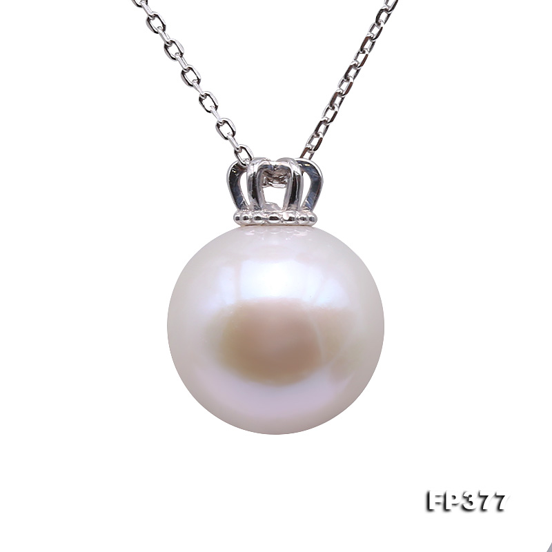 13.5mm Perfectly Round White Edison Pearl Pendant big Image 1