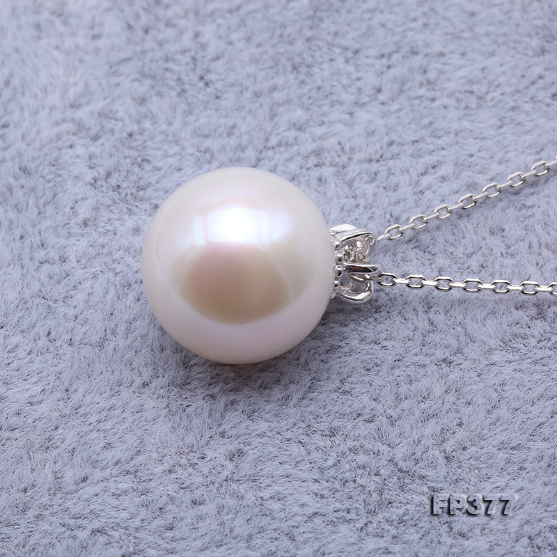 13.5mm Perfectly Round White Edison Pearl Pendant big Image 3