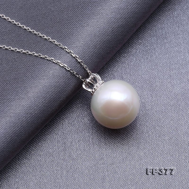 13.5mm Perfectly Round White Edison Pearl Pendant big Image 5
