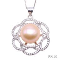 Exquisite 11.5mm Pink Freshwater Pearl Pendant in Sterling Silver FP020