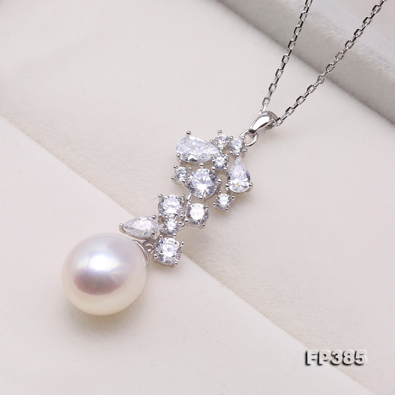 Exquisite 8.5x10mm White Freshwater Pearl Pendant in Sterling Silver big Image 2