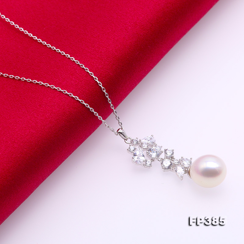 Exquisite 8.5x10mm White Freshwater Pearl Pendant in Sterling Silver big Image 5