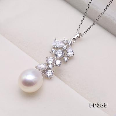 Exquisite 8.5x10mm White Freshwater Pearl Pendant in Sterling Silver FP385 Image 2
