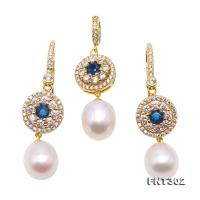 Exquisite 9x11mm White Pearl Earrings & Pendant Set in Sterling Silver FNT302