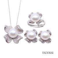Exquisite 10mm White Pearl Pendant Earring & Ring Set in Sterling Silver FNT309