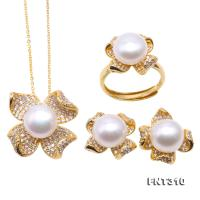 Exquisite 10mm White Pearl Pendant Earring & Ring Set in Sterling Silver FNT310