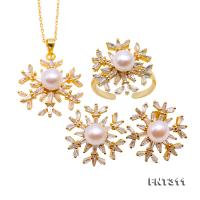 Exquisite 6.5mm White Pearl Pendant Earring & Ring Set in Sterling Silver FNT311