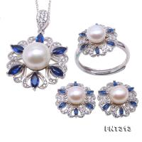 Exquisite 6.5-10.5mm White Pearl Pendant Earring & Ring Set in Sterling Silver FNT313