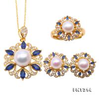 Exquisite 6.5-10.5mm White Pearl Pendant Earring & Ring Set in Sterling Silver FNT314