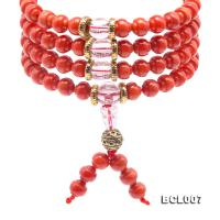 Buddhism Jewelry---Beautiful 7mm Red Coral Prayer Beads/Bracelet BCL007