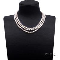 Delicate Three-Strand 5-5.5mm White Oval Pearl Necklace FNM106