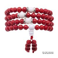 Buddhism Jewelry---Beautiful 7-7.5mm Red Coral Prayer Beads/Bracelet BCL009