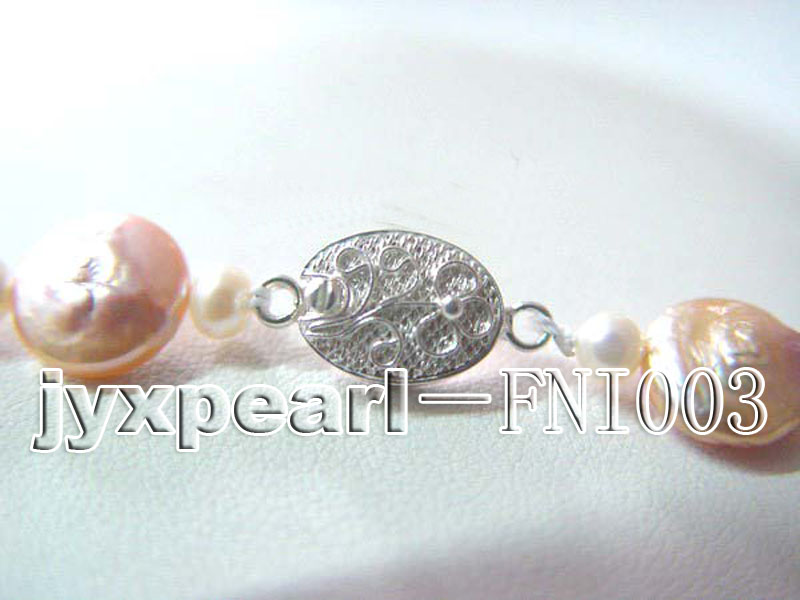 Unique 9.5mm White Baroque Pearl Necklace  big Image 3