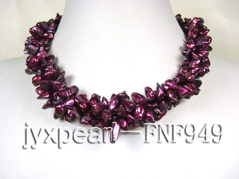 Three-strand 5.5mm Purple Baroque Freshwater Pearl Necklace big Image 1