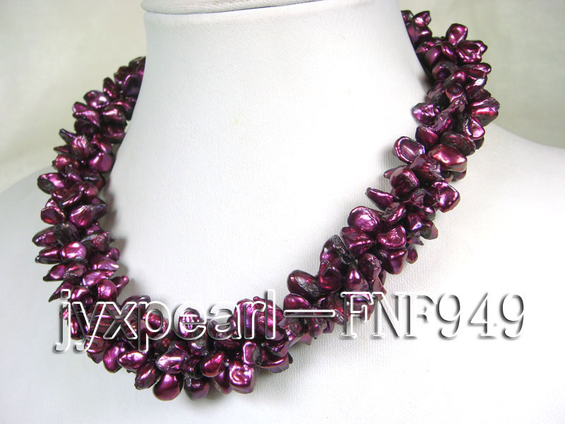 Three-strand 5.5mm Purple Baroque Freshwater Pearl Necklace big Image 2