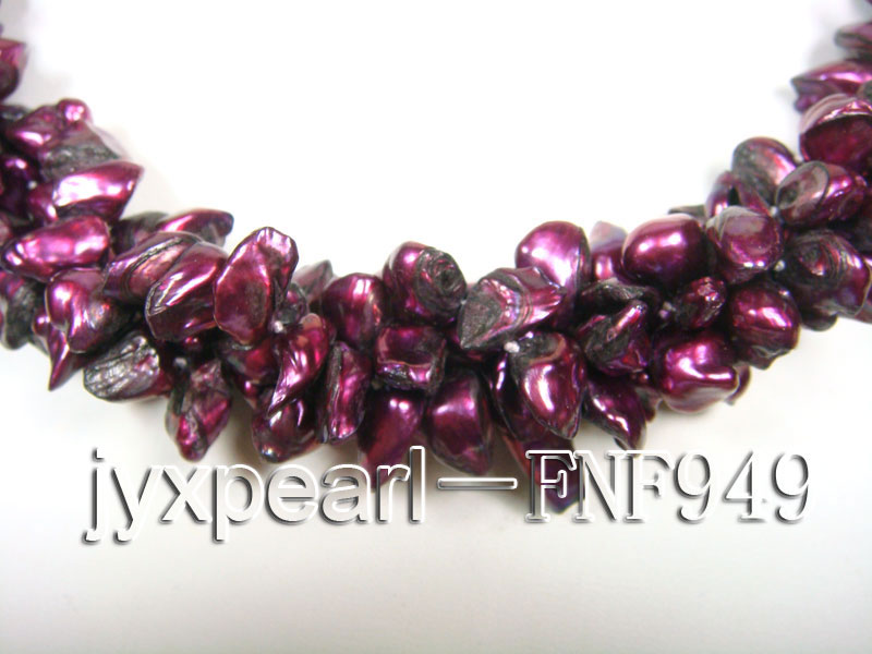 Three-strand 5.5mm Purple Baroque Freshwater Pearl Necklace big Image 3