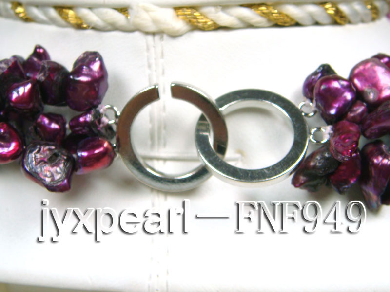 Three-strand 5.5mm Purple Baroque Freshwater Pearl Necklace big Image 4