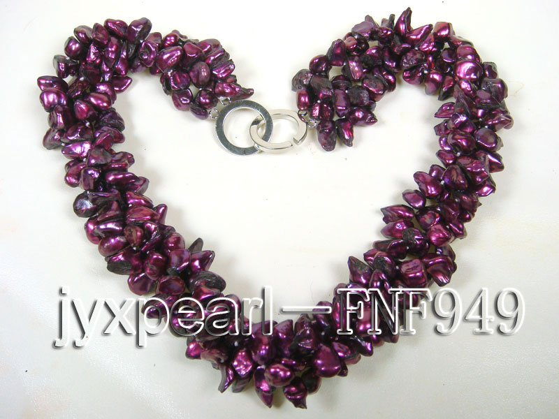 Three-strand 5.5mm Purple Baroque Freshwater Pearl Necklace big Image 5