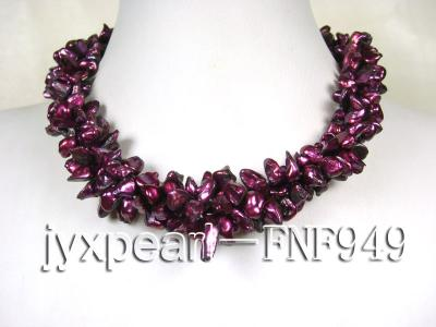 Three-strand 5.5mm Purple Baroque Freshwater Pearl Necklace FNF949 Image 1