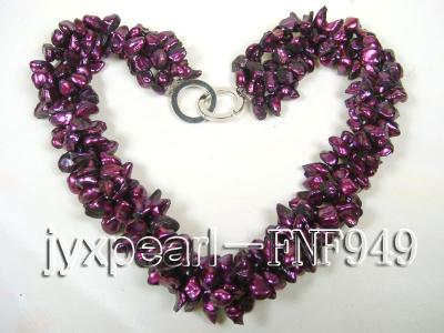 Three-strand 5.5mm Purple Baroque Freshwater Pearl Necklace FNF949 Image 5